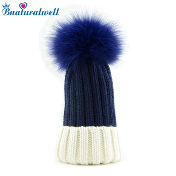 Bnaturalwell Baby Kids Winter Fox Fur Hat Girls Boys cap with Fox Fur pompom Ball Child Beanie Cap Crochet Knitted beanies H009D