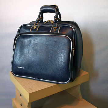 ROOMY BOWLING BAG Retro Vintage Luggage Style Westchester Bowling Ball Tote in Rich Leather Like Navy Blue with Brass Hardware and Trim