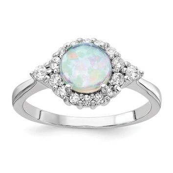 Cheryl M Sterling Silver Round Created Opal & CZ Ring