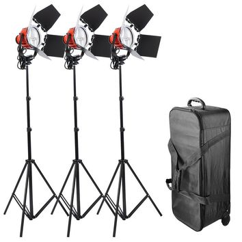 Pro Continuous Light Kit 3 Dimmable 800W Quartz Lights, Stands And Rolling Case  SC1033