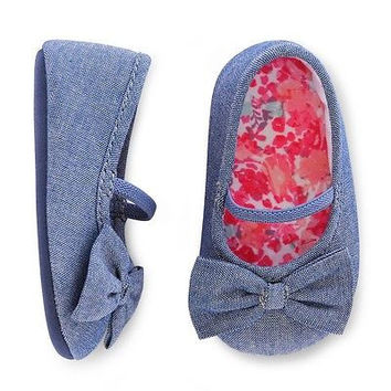 Cherokee Baby Girls' Bow Tie Flats, 3-6 Months, Chambray Blue