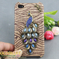 Crystal Peacock Butterfly Hard Case Cover For iPhone 4 Case, iPhone 4s Case, iPhone 4 Hard Case, iPhone Case MB718