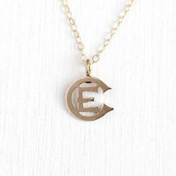 DCCK1IN antique victorian pendant 10k rose gold letter e ec brooch pin conversion charm ne