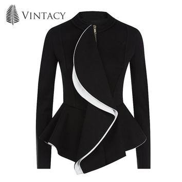 Vintacy women jacket ruffles vintage black peplum coat spring autumn fashion tops gothic women coats ol style work suit jackets
