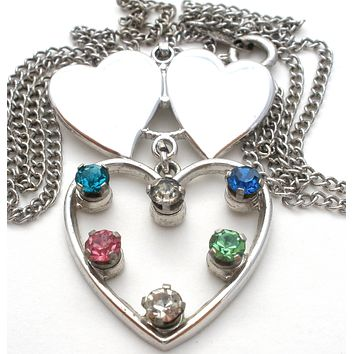 Vintage Sterling Silver Rhinestone Heart Necklace Anson