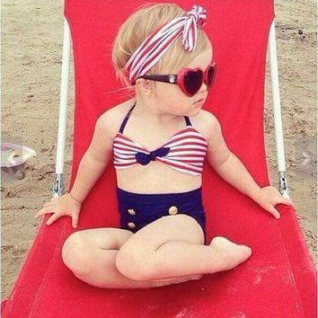 2017 Baby/Infant Girls Kids Tankini Bikini Suit Button Striped Bottoms Beachwear Swimsuit Swimwear Girl's Bathing Suit GBK011
