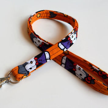 Halloween Lanyard / Kitty / Keychain / Vampire / Key Lanyard / Bat / ID Badge Holder / Kawaii / Orange / Bats / Stars / aPopUpShop