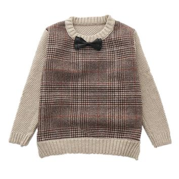 New Year Boys Outerwear Costumes Bow Plaid Knitted Sweater For Boys Fashion Infant Coat Pullover Winter School Kids Clothing