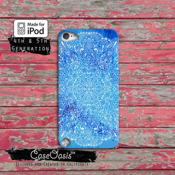 Blue Mandala Line Art Indian Watercolor Tumblr Cute Case iPod Touch 4th Generation or iPod Touch 5th Generation or iPod Touch 6th Gen Rubber