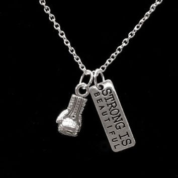 Inspirational Strong Is Beautiful, Boxing Glove, Strength Gift Crossfit Necklace