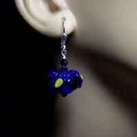 Cobalt Blue and Yellow Lampwork and Crystal Earrings, Mothers Day Gift, Mom Sister Grandmother Bridesmaid Jewelry Gift,