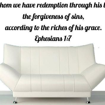 Bible Wall Decals In Whom We Have Redemption Through His Blood