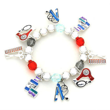 Beauty Styling Enamel Pearl Charm Bracelet / Hair Salon Charms / Hair Comb / Style Gel / flat Iron / Blow Dryer
