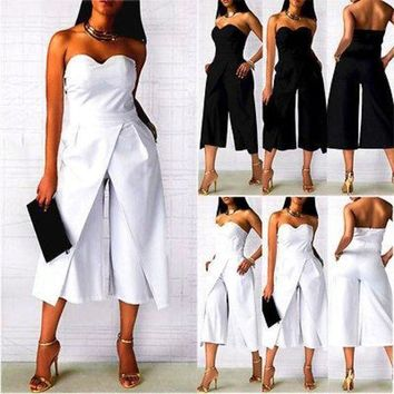 PEAP78W Office Ladies Formal Outfits Women Clubwear Strapless Playsuit Bodycon Party Jumpsuit S M L XL XXL