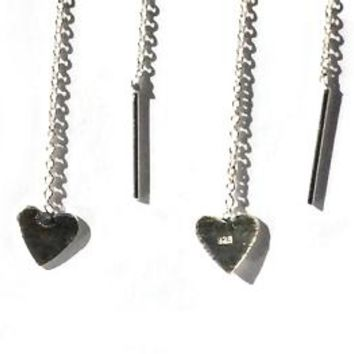 Sterling Silver  Heart Dangle Ear Thread Earrings