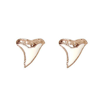 Humble Chic Women's Shark Tooth Stud Earrings - Ivory Goldtone Enamel Charm Studs