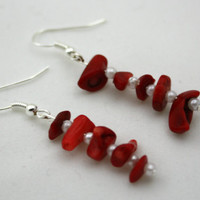 Red Stone Chip and Pearl Dangle Earrings For Women and Teens, Red and White