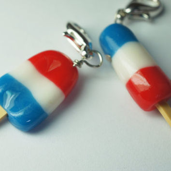 Red White and Blue Popsicle Charm Set by Sweetnsavorytrinkets