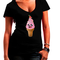 Cute Ice Cream Cone Juniors Petite V-Neck Dark T-Shirt