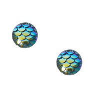 Blue Fin Mermaid Stud Earrings