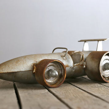 Retro Big Steel Rustic Race Car.
