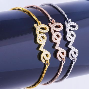 Factory Direct Micro Pave Cubic Zirconia Word Love Connector Charm Chain Bracelet Fit Women Jewelry Making Girlfriend Gift