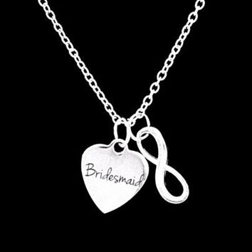 Bridesmaid Bridal Party Wedding Gift Infinity Charm Necklace