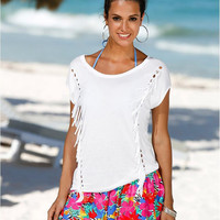 Cut Out Fringed Short Sleeve T-Shirt