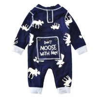 2017 Fashion Newborn Baby Clothes Romper Winter Cartoon Reindeer Print Girl Boy Baby Jumpsuit New Christmas Baby Romper For Boy