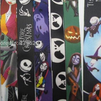 New  50 Pcs Mixed The Nightmare Before Christmas  Phone  Key Chains  Neck Strap Keys  Lanyards Free Shipping LM032