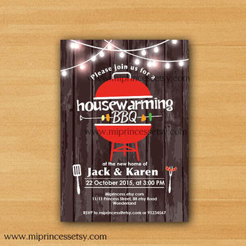 housewarming invitation, bbq invitation, New house Housewarming BBQ gathering party Invitation, wood Backyard, Barbecue  - card 625