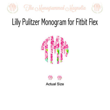 Set of Lilly Pulitzer Inspired Monogram for Fitbit Flex