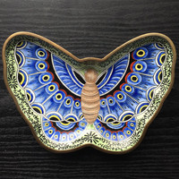 Vintage Cloisonne Butterfly ring dish. Very pretty Butterfly intricate blue wings, with green vines and leaves, Brass and Enamel. Sweet.