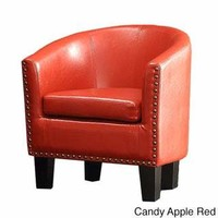 Unique Modern Faux Leather Accent Barrel Club Chair
