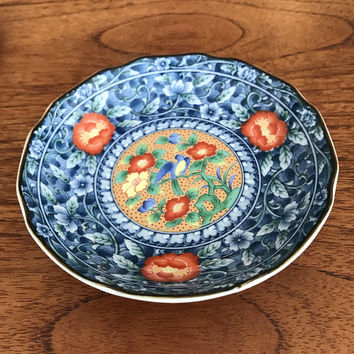 Asian Japanese Porcelain Bowl,  Hand Painted Floral Motif, Trinket Dish, Orange Flowers Blue Bird, Jewelry Ring Dish, Vintage Gift For Her