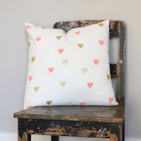Peach & Gold Throw Pillow Cover