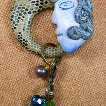 Funky Polymer Clay Cabochon Face Charm Pin Brooch Original Wearable Art Mixed Media OOAK - -