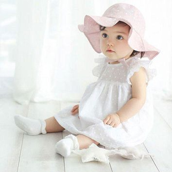 PEAP78W Infant Toddler Visor Cotton Sun Cap Floral Print Summer Outdoor Baby Girls Pink White Beach Bucket Hats