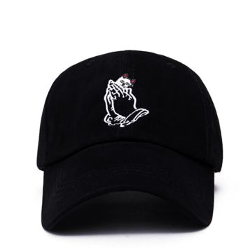Trendy Ripndip Pocket Cat Embroidery Cotton Baseball Cap Hat