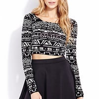 FOREVER 21 Adventurer Crop Top Black/White Small