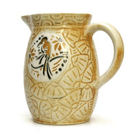 Art Deco Pitcher. French Majolica  Jug. St Clement Pitcher. French Faience.