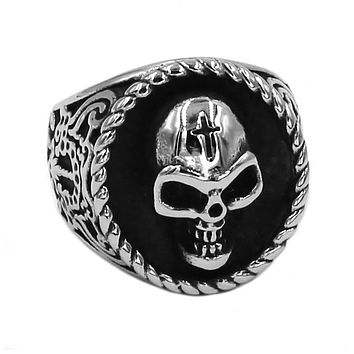 Cross Death Skull Biker Ring Stainless Steel Jewelry High Quality