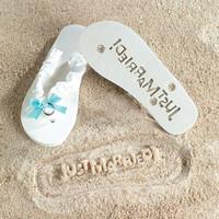 Beach Wedding Brides Flip Flops JUST MARRIED Sand IMPRINT Size Large (9-10)