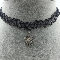 Handmade Tattoo Choker Necklace with Weed Leaf Charm