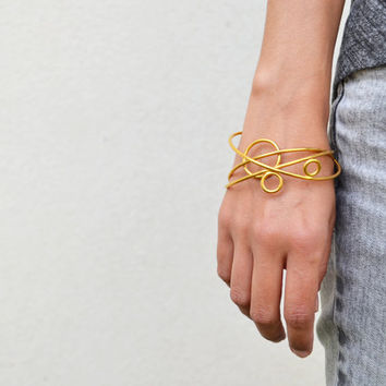 BRACELET trio set mix bangle sterling silver gold plated contemporary jewelry abstract urban geometric stackable - Orbital Collection