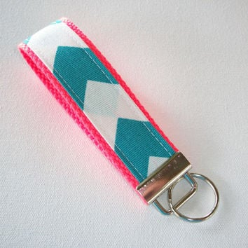 Back to School SALE - Key FOB / KeyChain / Wristlet  - Turquoise chevron on neon coral - Zig Zag