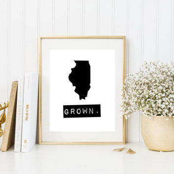 Illinois Grown Home State Print, Custom map, Personalized map, Printable, Digital Download, hometown, typewriter, stamp, state typography
