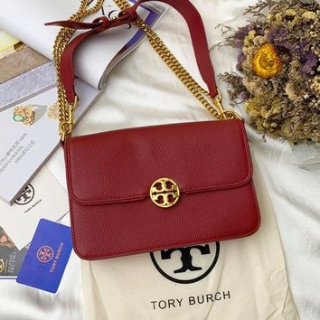 Beauty Ticks Tb Tory Burch Women's Leather Inclined Shoulder Bag #4639