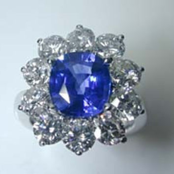3.20ct Cushion Cut Sapphire Diamond Engagement Ring JEWELFORME BLUE