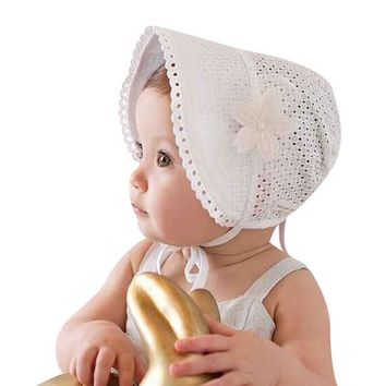 Girls Bonnet Retro Baby Hat Infant Chapeau Nordic Vintage Lace Toddler Bonnet Cotton Retro Kids Christening Baptism Cap 1pc H821